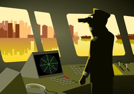 Ship captain using a binocular