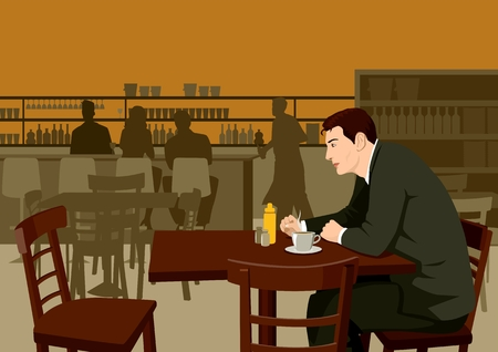 alone person: Stock illustration of a man waiting at the cafe