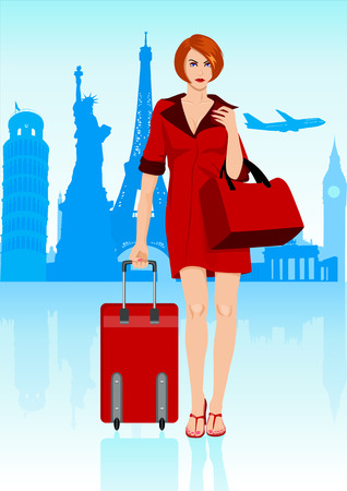 people traveling: Stcok illustration of a woman carrying a luggage