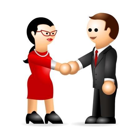 relaciones humanas: Figura icónica de una mujer y un hombre agitando la mano