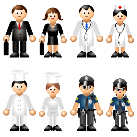 femme policier: Figures embl�matiques des professions Illustration