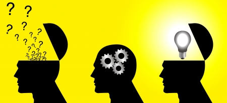 uitvinder: Iconische illustratie van een denkproces Stock Illustratie