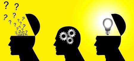 pensamiento creativo: Ilustraci�n ic�nica de un proceso de pensamiento