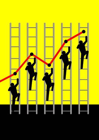 annual: Iconic illustration of figures climbing graphic ladders