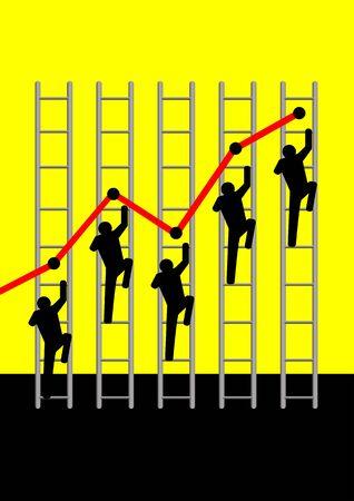 perdidas y ganancias: Ilustraci�n ic�nica de figuras subir escaleras gr�ficos