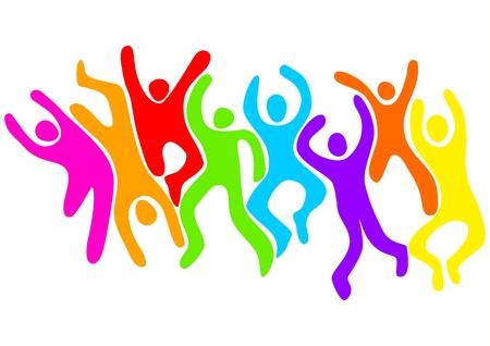 figuras abstractas: Ilustraci�n abstracta de figuras saltar y bailar Vectores