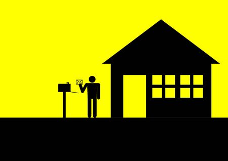 sehnsucht: Ikonischen Abbildung einer Figur mit Briefkasten und ein Haus