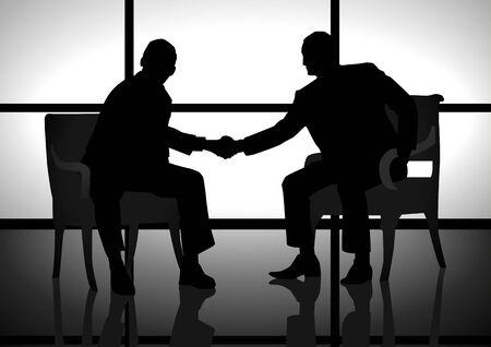 Stock illustration of two men shaking hand Vector