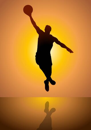 rebound: Silhouette illustration of a person playing basketball