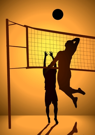 beach volley: Silhouette illustration of people playing volley ball