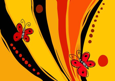 Naive art illustration of two butterflies Vector