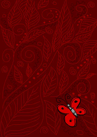 Stock illustration of butterfly on red ornament background Vector