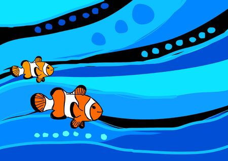 Stock illustration of clown fish on abstract blue background Stock Vector - 8411798