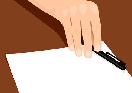 signing: Stock illustration of a person handing over a pen and paper