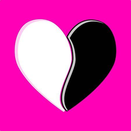 Black & White heart Vector
