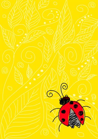 Naive art illustration of a bug on yellow ornament background Vector