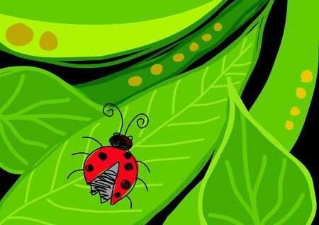Naive art illustration of a bug on leaves Vector
