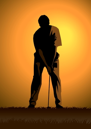golf stick: Ilustraci�n de existencias de un golfista.