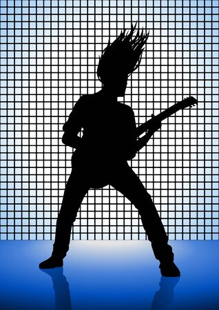 lead guitar: Stock illustration of a man playing guitar Illustration