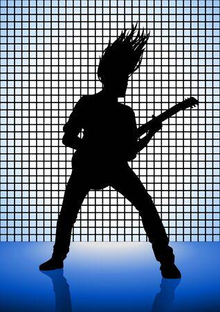 heavy metal music: Stock illustrazione di un uomo che suona la chitarra Vettoriali