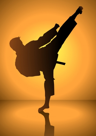 fu: Silhouette of a karateka doing standing side kick Illustration
