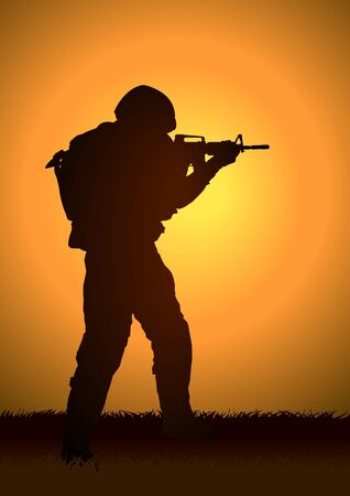 assault rifle: Silhouette illustration of a soldier  Illustration