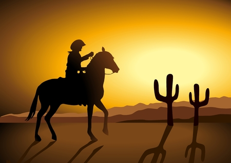 Silhouette illustration of a cowboy riding a horse during sunset Vector