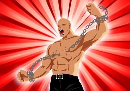 Imagen de existencias de una figura masculina, rompiendo la cadena