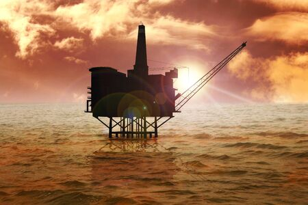 manipulate: Stock image of offshore oil rig Stock Photo