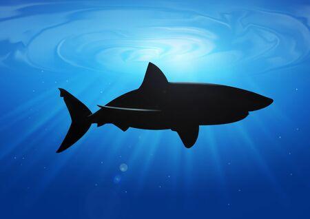 Stock illustration of a shark in deep blue sea illustration