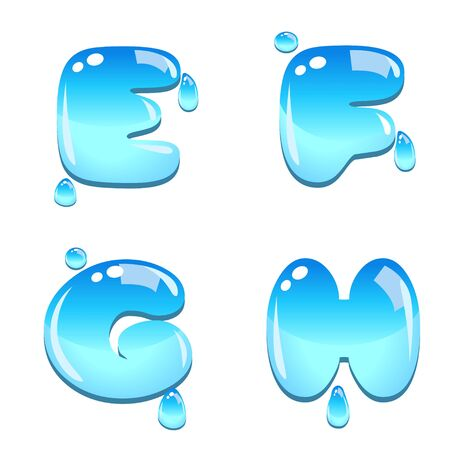 water liquid letter: A set of water bead font type, letter E to H