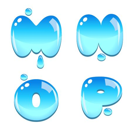 water liquid letter: A set of water bead font type, letter M to P Illustration