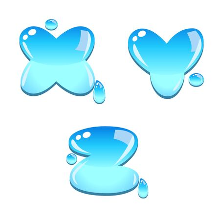 A set of water bead font type, letter X to Z Vector