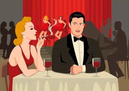 women smoking: Ilustraci�n de existencias de una pareja en el restaurante Vectores
