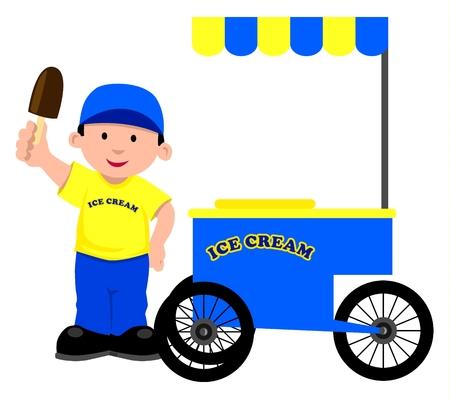 carretto gelati: Venditore di gelati Vettoriali