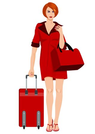 people traveling: illustration of a woman carrying a luggage Illustration