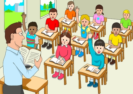 children in class: Stock of a classroom