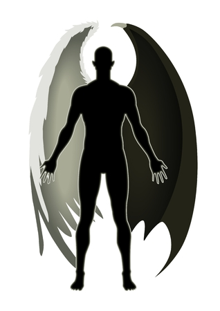 diablo y angel: Balance de un �ngel y el diablo Vectores