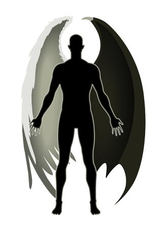 teufel engel: Ein Engel und der Teufel Illustration
