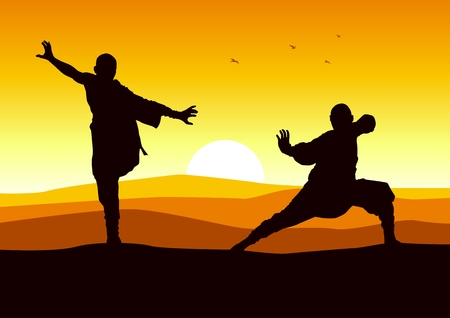tai chi: Silhouette illustration of two figures doing martial art stance Illustration
