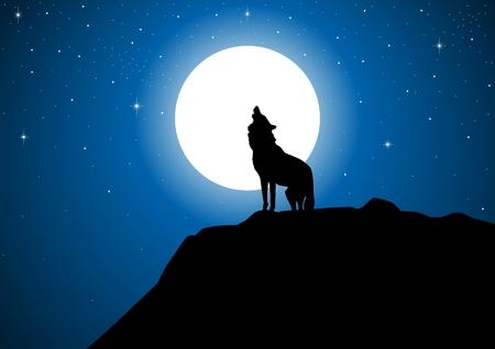 Voorraad van een wolf howling at the full moon