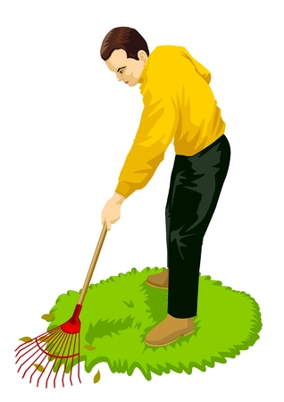 Stock vector of a man gardening