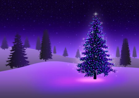 christmas atmosphere: Stock image of Christmas tree with colorful lights in ice desert