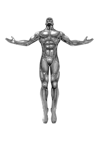 chromeman with open arms, looking up to the sky