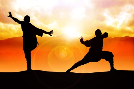 tai chi: Silhouette illustration of two figures doing martial art stance Stock Photo