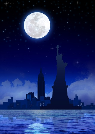 Stock image of New York City at night photo