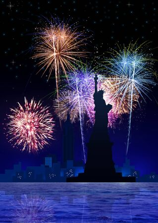 firecrackers: Stock image of New York City with fireworks Stock Photo