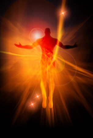 human aura: An illustration of a male figure on energy burst background