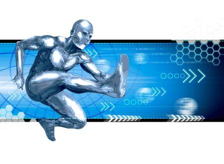 fast forward: Stock image of a chromeman leaping forward Stock Photo