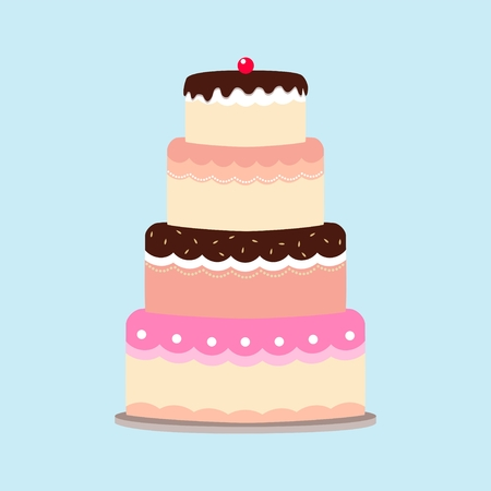 pink cake: illustration of a cake isolated on blue background